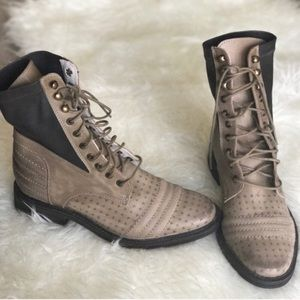 Free People Tan leather Moto/combat boots
